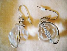 LARGE WHITE MULTI-FACETED CRYSTAL BALL DROP-DANGLE PIERCED HOOK EARRINGS