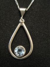 """925 Sterling Silver Open Tear Drop Blue Topaz Necklace 15""""  ~ 3.63 Grams"""