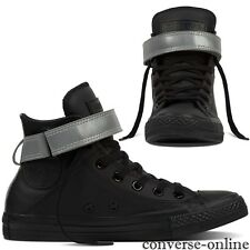 Womens CONVERSE All Star REFLECTIVE POP BLACK LEATHER HI Trainers Boot SIZE UK 5