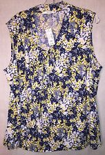 NWT NEW WOMENS 18W 18 Jones Studio Dressbarn Floral SHIRT Tank Top BLOUSE $42.00