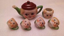 Vintage Childs Tea set pitcher cups doll face design old porcelain