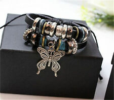 NEW Jewelry Fashion Infinity Leather Charm Bracelet Silver lots Beads Style