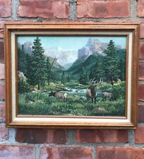 Colorado Rocky Mountain Landscape With Elk Painting. Walter Scott Fenton. Signed
