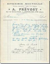 Carta -TIENE - PRÉVOST Tienda de comestibles nueva en Verneuil sur Avre 1932
