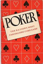 1950 Booklet on Poker The National Card Game of the United States and Lowball