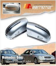 Mercedes W211 E-CLASS 03-05 LED SILVER Side Mirror Cover E220 E320 E55 E500 mlf2