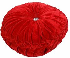 "RED LUXURIOUS THICK VELVET ROUND DEEP CRYSTAL PLEATED CUSHION 15"" - 38CM"