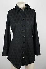 Vix Cover Up Sz Small Black Sheer Flocked Jacquard Pattern Ruching & Panel Back