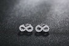 Sterling Silver Infinity Sign Stud Earrings with Micro Pave Crystal