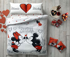 Valentine's Day Gift Mickey Minnie Love 100% Cotton Bed Quilt/Duvet Cover Set