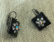 Vintage Style Earrings Enamel & Rhinestone Black & Crystal Aurora Borealis Silve