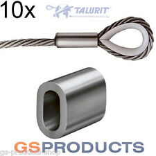 10x 12mm Aluminium Ferrules Steel Wire Rope Crimping Sleeve Clamp TALURIT