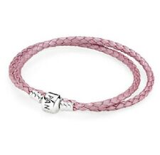 NEW! AUTHENTIC PANDORA PINK Double Leather Bracelet SMALL (590705CMP-D1) 13.8in