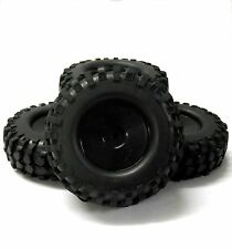 280005 1/10 Off Road Rock Crawler RC Disc Wheels and Tyres Black x 4 Plastic