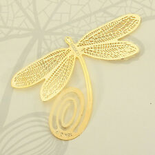 Golden Dragonfly Style Metal Bookmark Paper Reading Label For School Office Gift