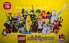 LEGO 71013 MINIFIGURES SERIES 16, COMPLETE SET OF 16 NEW AND OPENED 100% REAL
