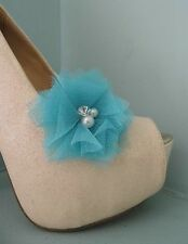 2 Blue Netted Clips for Shoes with Pearl & Diamante Centre