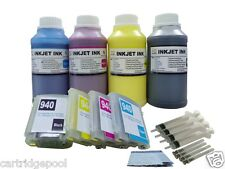 Refillable Pigment ink cartridge for HP 940 XL Pro 8500a with chip + 4x250ml Pg