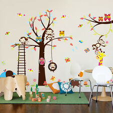 Cartoon Monkey Animals Tree Jungle Animal Zoo Wall Decal Stickers Kids Room Home