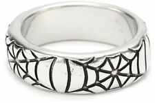 Marvel Womens Silver-Toned Spiderman Engraved Spider Web Ring Size 6.5 13832 NWT