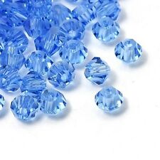 4mm  Crystal Glass Bicone Beads, Faceted, Sapphire 50pcs jewellery making