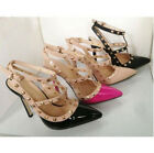 New women pointed toe studded ankle strappy pumps high heel shoes rivet stiletto