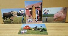 Four New Postcards ~ Bigger and Better in America  (Cow, Corn, Pig, and Tomato)