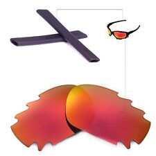 New Walleva Polarized Vented Fire Red Lenses And Black Earsocks 4 Oakley Jawbone