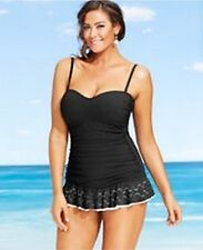 Profile by Gottex Tutti Frutti Bandeau Swimdress One Piece Sz 24W Black si1