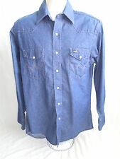 WRANGLER Size 15 1/2-33 Long Sleeve Pearl Snap 2 Pocket Men's Denim Cotton Shirt