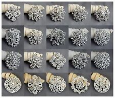 20 Brooch Lot Sliver Rhinestone Crystal Pin Wedding Bouquet DIY Kit Wholesale