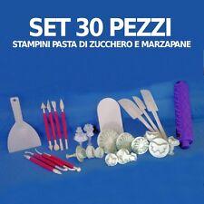 STAMPINI PASTA DI ZUCCHERO SET 30 STAMPI ATTREZZI DECORARE TORTE CAKE DESIGN