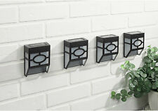 4x NEW Black Modern Solar Powered LED Outdoor mounted Wall/Garden/Patio Light