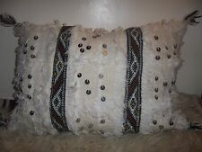 Moroccan Wedding Blanket Cushion Cover Berber Artisan Handira Cream Ethnic AQ