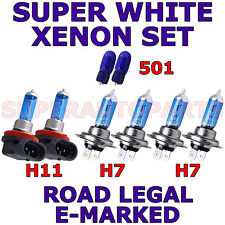 FITS AUDI TT 2007-ON   SET  H7   H7   H11  501  SUPER WHITE XENON LIGHT BULBS