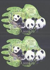 MALAYSIA 2016 PANDA GERGASI 2 SOUVENIR SHEETS WITH IMPERF. OF 1 STAMP EACH MINT