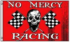 No Mercy Racing Pirate Flag Skull with Checkered Flags 3 x 5 Foot Race Banner