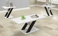3PC Glossy White Contemporary White Black X Cross Base Coffee End Table Set