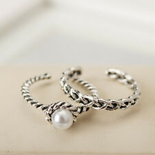 Silver Plated Engagement Wedding Ring Set With Pearl Opening Adjustable Women