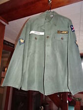 US ARMY WW2 FATIGUE SHIRT 21st corps. Specialist patches.  Starched clean