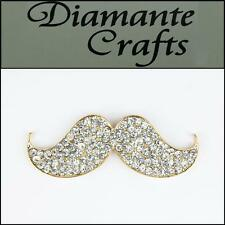 3D Moustache Gold Alloy Clear Diamantes DIY Mobile Phone Case Deco 3BM2013