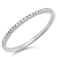 0.08 CT 10k White Gold Round Diamond Ladies Dainty Anniversary Wedding Band Ring