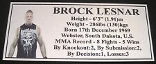"MMA BROCK LESNAR Champion Silver Photo Plaque ""FREE POSTAGE"""