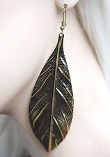 LEAF FEATHER DANGLE FASHION HIPSTER INDIE GHETTO EVENING CLUB EARRINGS