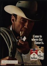 1975 MARLBORO Man Cowboy Smokes Cigarette w/ Zippo Lighter VINTAGE ADVERTISEMENT