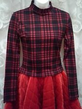 NEW Mock Neck Long Sleeve Top Womens Size L Red & Black Plaid So Beautiful!