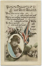 English WW1 Postcard Union Jack Patriotic Woman Child 1914-1918