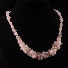 g2289.1 Rose quartz glass chips beaded adjustable necklace 18-20""