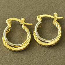 2-Tone White/Yellow Gold Filled Womens clip On Hoop Earrings cute Earrings lucky