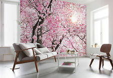 NON WOVEN giant wallpaper 368x248cm Pink tree - flowers wall mural decor